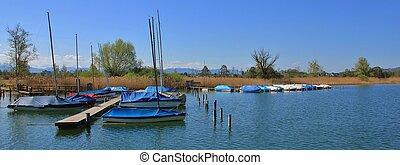Sailing boats on the shore of lake Pfaffikon