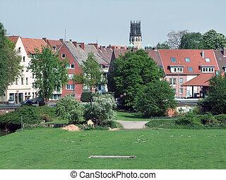 idyllic scene in Muenster, a city in North Rhine-Westphalia (Germany)