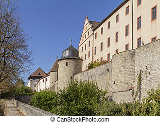 idyllic scenery around the Marienberg Fortress near Wuerzburg in Franconia, a bavarian area in Germany