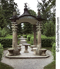 formal garden - idyllic scenery of a formal garden in...