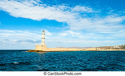 Nice view of the lighthouse Mediterranean Sea in Greece. Crete. Chania