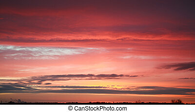 Idyllic sky with clouds at sunset, beautiful nature background