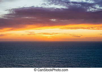Idyllic sunset over Mediterranean sea Portoscuso Carbonia Sardinia