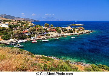 Idyllic little town at the sea on the island of Zakynthos in summer
