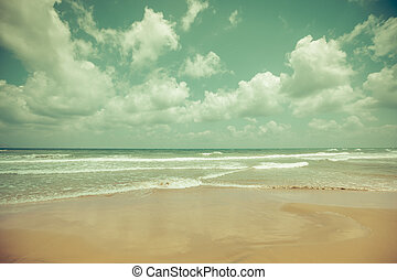 Idyllic tropical sand beach background. Toned image