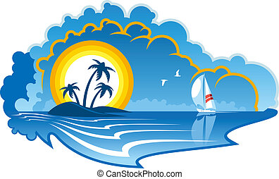 Idyllic tropical island with a yacht - Vector cartoon...