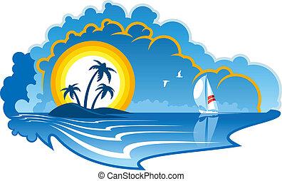Idyllic tropical island with a yacht - Vector cartoon...
