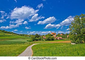 Idyllic village in green nature