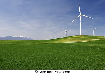 idyllic windmills - group of windmills in an idyllic green...