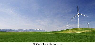 idyllic windmills - group of windmills in an idyllic green...