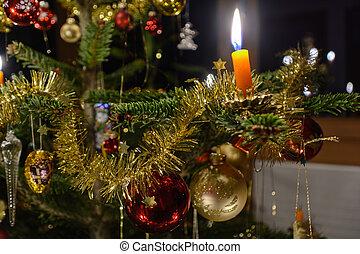 idyllically, decorado, árvore natal, -, close-up