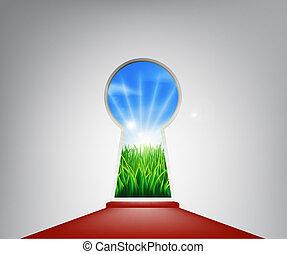 idylliczny, drzwi, dziurka od klucza, czerwony, krajobraz, dywan