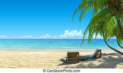 idylliczny, krzesła, dwa, tropikalny, piasek, biała plaża