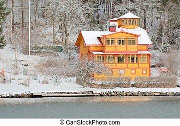 idylliczny, zima, dom