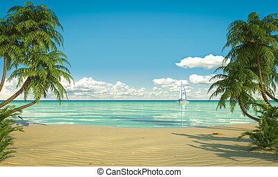 idyllique, espace, caribean, copie, plage, vue