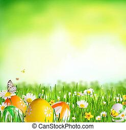 idyllique, pré, printemps, oeufs, papillons, paques