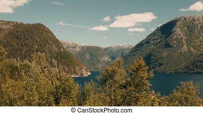 idyllisch, ansicht, auf, a, norwegisch, fjord, -, cinematic, stil