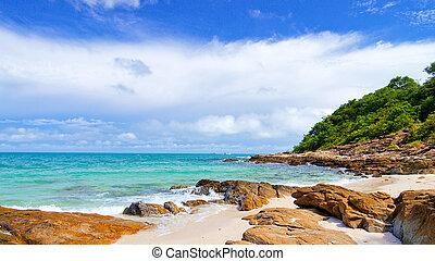 idyllisch, scène, strand, op, samed, eiland