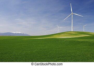 idyllisk, vindmotorer