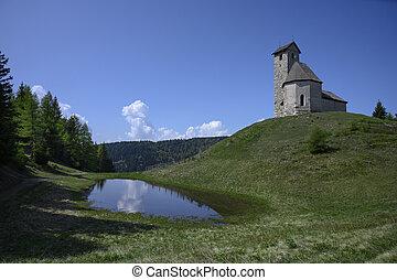 idylliske, st.., himmel, sø, træer, italia, høj, vigilius, kirke, alpine