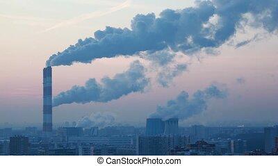idzie, miasto, nowoczesny, prospekt, dym, czas, pipes., ...