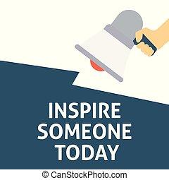 iemand, announcement., inspireren, hand, toespraak, vasthouden, megafoon, bel, vandaag