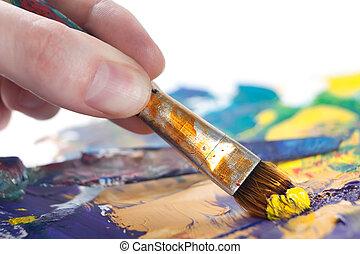 iemand, is, schilderij, iets, met, penseel