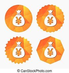 iene, dinheiro, currency., sinal, jpy, saco, icon.