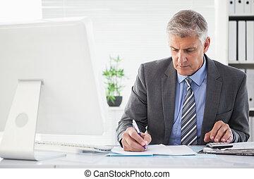 iets, dons, geconcentreerde, schrijvende , zakenman