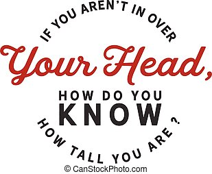 If you aren't in over your head, how do you know how tall you are?