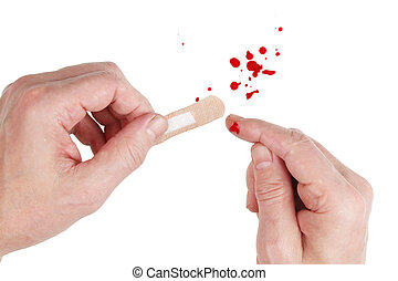 If you cut your finger and the blood flows - you need to use a medical plaster.