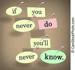 If You Never Do You'll Never Know Pushpin Saying Quote - The...