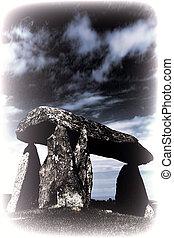 ifan, modifié tonalité, préhistorique, pentre, enterrement, chambre, pierre, royaume-uni, image, pembrokeshire, communal, megalithic, galles