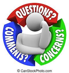 ifrågasätter, comments, bekymmer, avnämare understöd,...