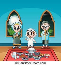 iftar, celebrar, musulmán, partido familia