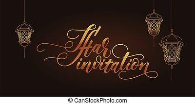 iftar, invitación, tarjeta