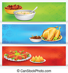 illustration of delicious dishes for Iftar party banner