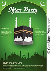 Iftar party flyer with Mecca in vector