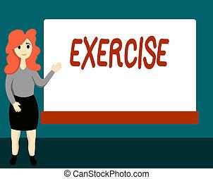 igényel, fogalom, fizikai, exercise., szöveg, jelentés, tart, elfoglaltság, egészség, kézírás, ki, erőfeszítés, átadott