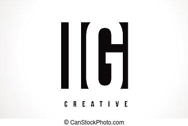 IG I Q White Letter Logo Design with Black Square.