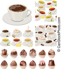 ig realistic set with cups of tea and coffee