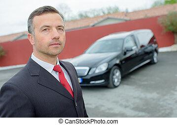 igazgató, autó, temetés