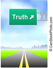 igazság, autóút cégtábla