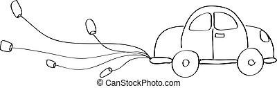 igazságos, autó, házas, kéz, szórakozottan firkálgat, karikatúra, rajz