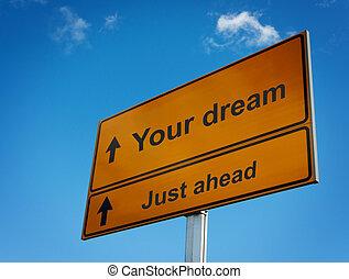 igazságos, előre, cégtábla., álmodik, -e, út
