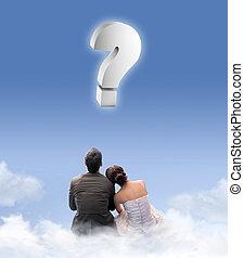 igazságos házas, párosít, képben látható, a, cloudlet