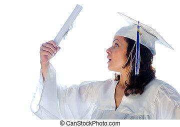 igazságos, nő, fiatal, diploma., végzett, boldog