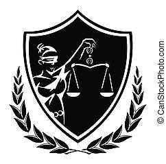 igazságosság, hölgy, aláír