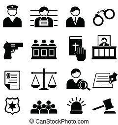 igazságosság, jogi, bíróság, ikonok