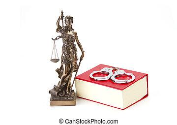igazságosság, törvény, és, igazságosság, noha, bilincs